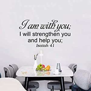AnFigure Inspirational Wall Decals, Wall Decals for Living Room, Women Bible Verse Scripture Prayer God Bedroom Home Art Decor Vinyl Stickers I Am With You I Will Strengthen You and Help You 28.6