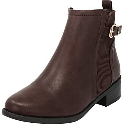 Cambridge Select Women's Chelsea Stretch Knit Chunky Stacked Block Low Heel Ankle Bootie: Shoes