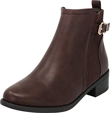 e0abd0261a81 Cambridge Select Women s Closed Round Toe Chelsea Stretch Chunky Stacked  Block Low Heel Ankle Bootie
