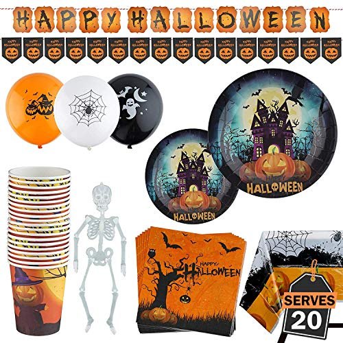 (99 Piece Halloween Party Set Including Banner, Plates, Cups, Napkins, Tablecloth, Balloons and Garland, Serves)
