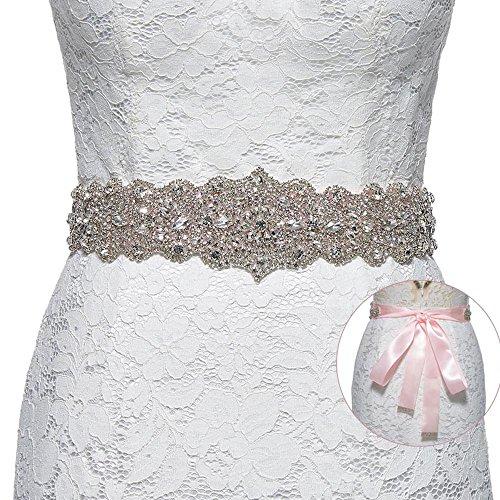 Sisjuly Women's Crystal Sash Rhinestone Wedding Belt for Prom Party Evening Dresses Pink (Pink Belt Crystal)