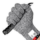 Cut Resistant Gloves Food Grade Level 5 Hand Protection,Kitchen Cut Gloves for Oyster Shucking,Fish Fillet Processing,Mandolin Slicing,Meat Cutting,Wood Carving (Large)