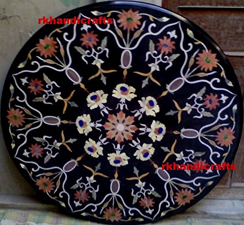 rkhandicrafts 48'' Round Black Marble Multi Color Stone Pietra Dura Art Dining Table Top Inlay Design