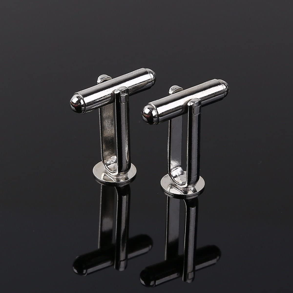25 pairs CHENGYIDA 50 Silver Color 8mm 5//16 x Cufflink Findings Cuff Link Blank Backs Plate