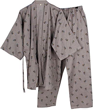 Fancy Pumpkin Batas de Estilo Japonés Kimono Pijama Traje Bata Conjunto para Hombres Caballo