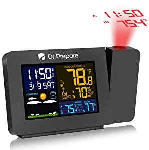 Dr. Prepare Projection Alarm Clock for Bedrooms with Indoor & Outdoor Temperature Display Dual Alarms Multi-Colored Backlight Projection Clock with Weather Forecast