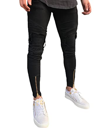 f496bce60908 XARAZA Men s Distressed Ripped Slim Fit Moto Biker Jeans Skinny Zipper Denim  Pants (Black