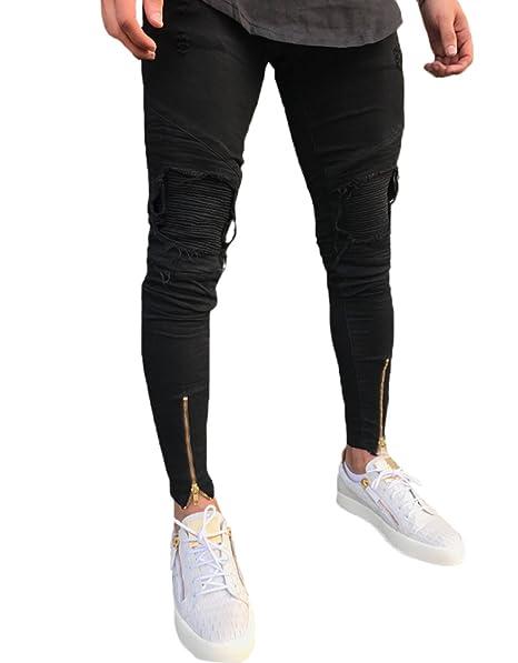 Amazon.com: XARAZA pantalones vaqueros ajustados para hombre ...