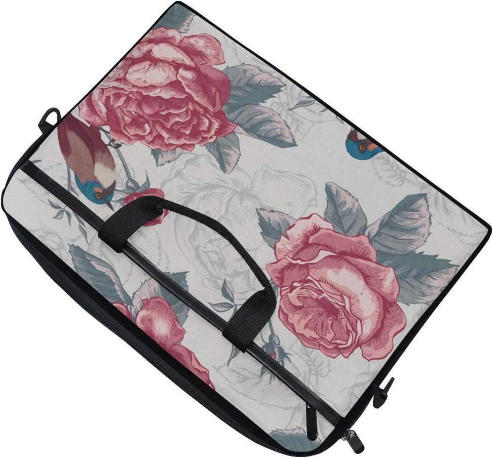 College Students Business People Office Workers Briefcase Messenger Shoulder Bag for Men Women Laptop Bag Botanical Floral Pattern Vintage Style 15-15.4 Inch Laptop Case