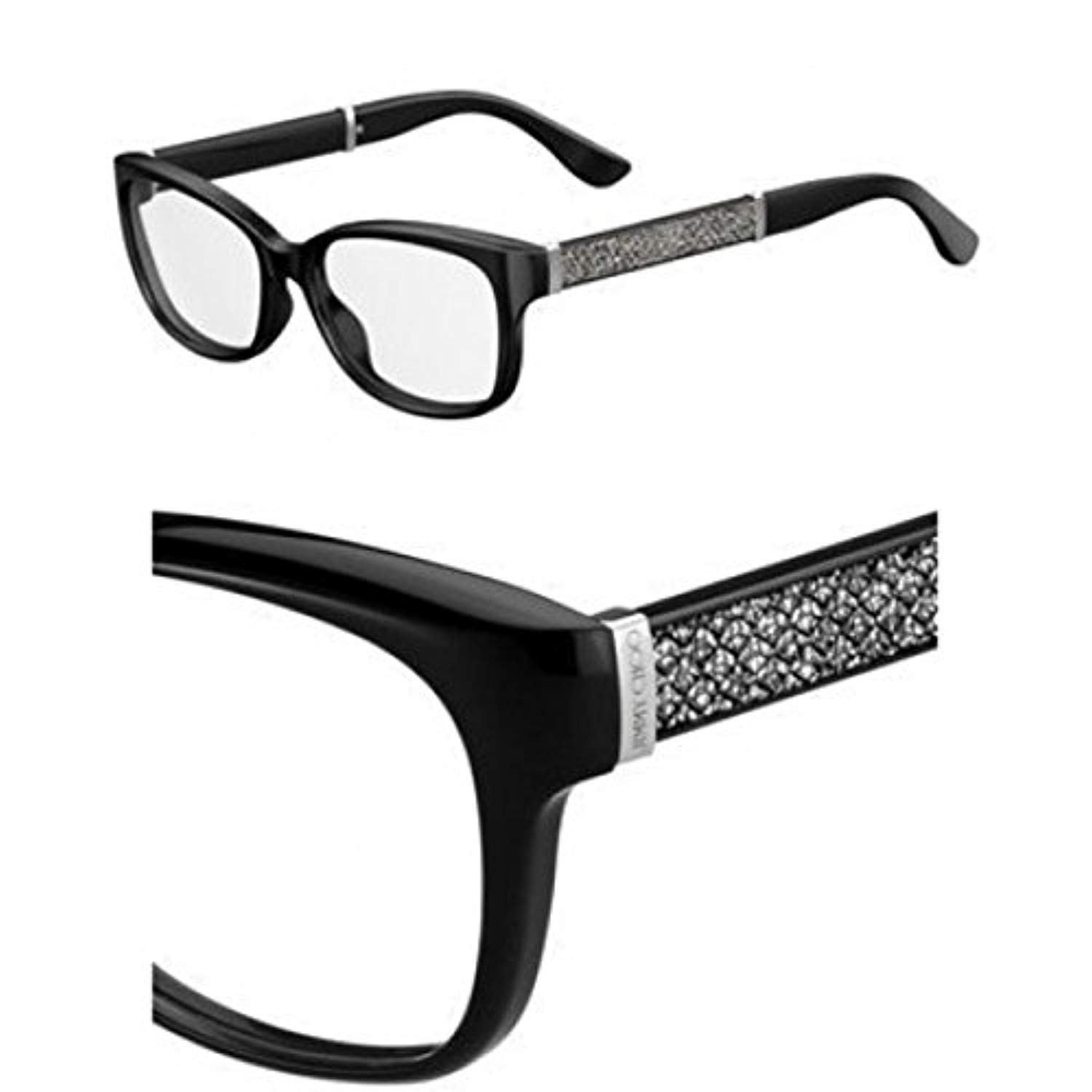 3287bcdc4c5 Eyeglasses Jimmy Choo Jc 178 0FA3 Black Glitter at Amazon Men s Clothing  store