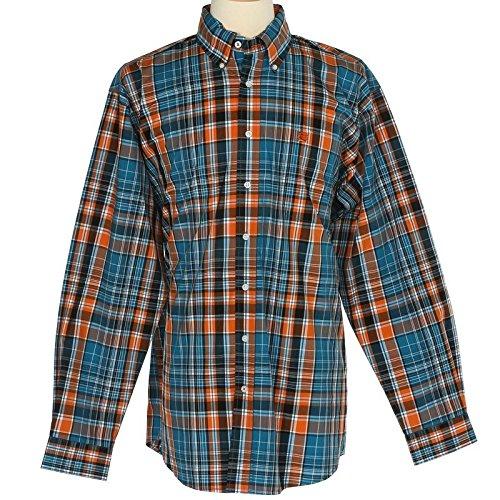 [Cinch Men's Blue And Orange Plaid Western Shirt Blue Large] (Orange Plaid Western Shirt)