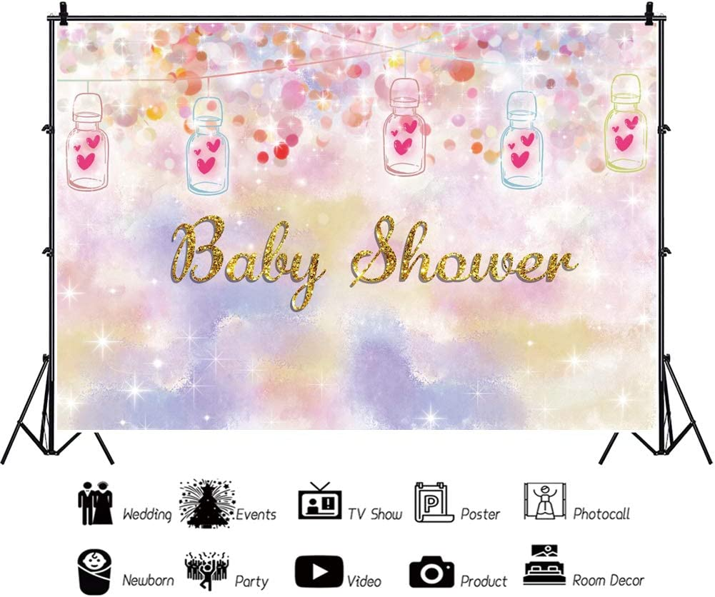 Yeele 10x8ft Dreamy Baby Shower Photography Backdrop Wish Bottle With Red Hearts Background Newborn Infant Artistic