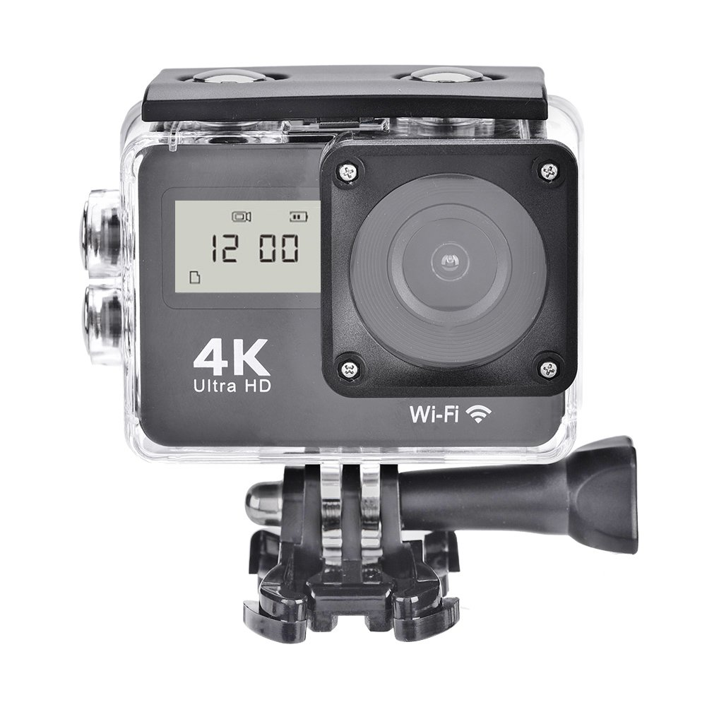 4K Full HD 1080P WIFI Sports Action Camera, Double Screens Camcorder Remote Control, Touch Screen for Traffic Records, Parking Monitoring