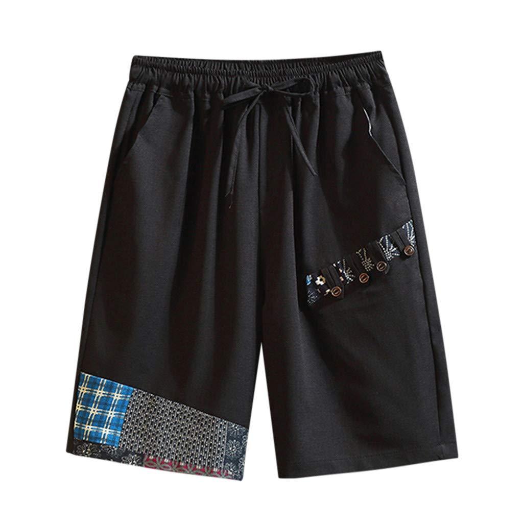 Lomsarsh Men's Shorts, Fashion Men Boy Casual Summer Loose Drawstring Print Cotton Linen Shorts Pants Print Shorts Sports Shorts Pockets Pants