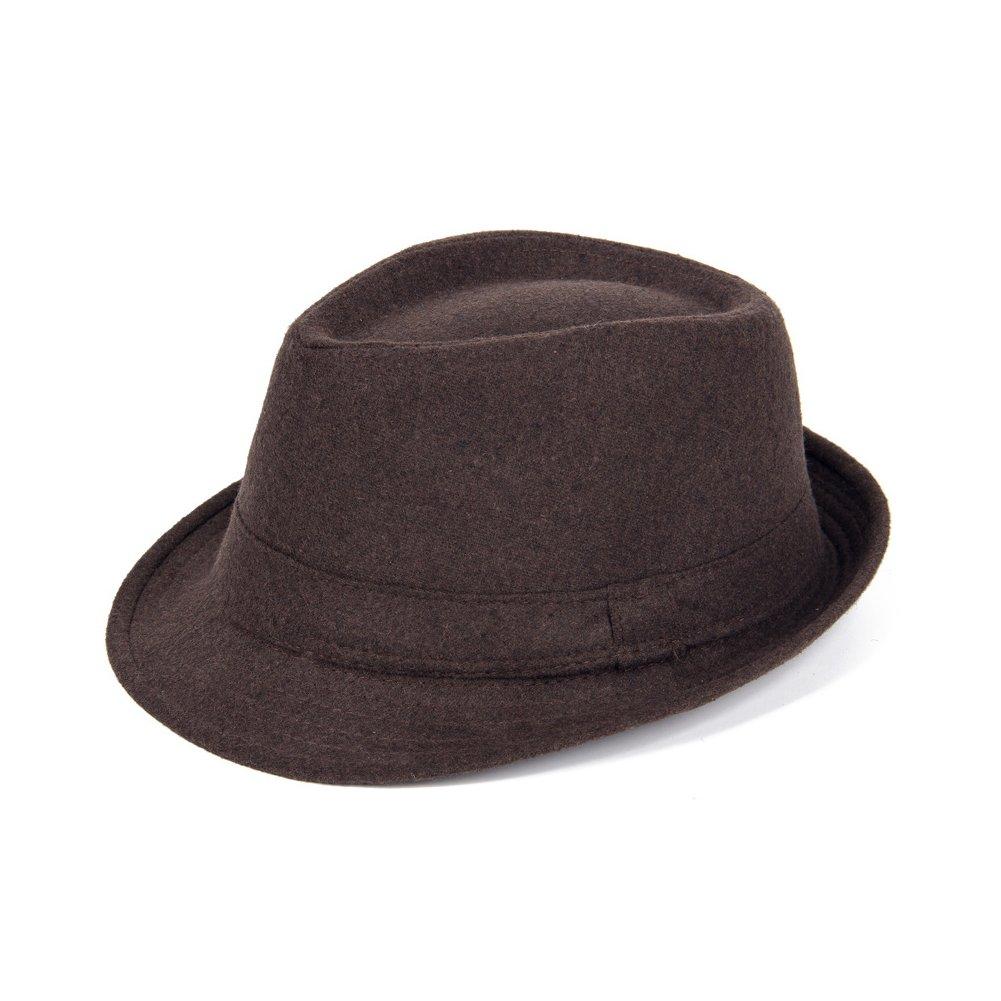 Opromo Unisex Classic Short Brim Manhattan Structured Gangster Trilby Fedora Hat-Coffee-48PCS