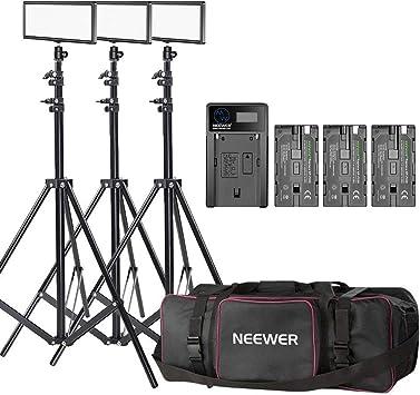 Neewer 3-Pack T120 Luz de Video LED en Cámara con Kit de Iluminación: (3)Panel LED Regulable Bi-color, (3)Soporte de Iluminación 190cm, (3)Batería de Li-ion, (1)Cargador USB, (1)Estuche de Transporte: Amazon.es: Electrónica