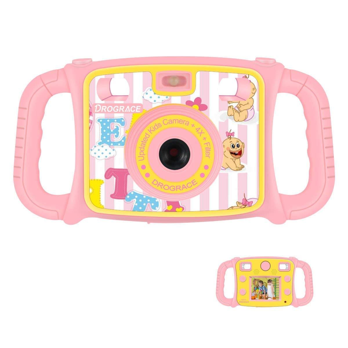 DROGRACE Enfant Appareil Photo Numérique Caméra 1080P HD Video Camera avec 4 x Zoom , Flash Lights, 2 Pouces LCD et poignées pour Cadeau d'anniversaire de Filles - Pink Kids Digital Camera