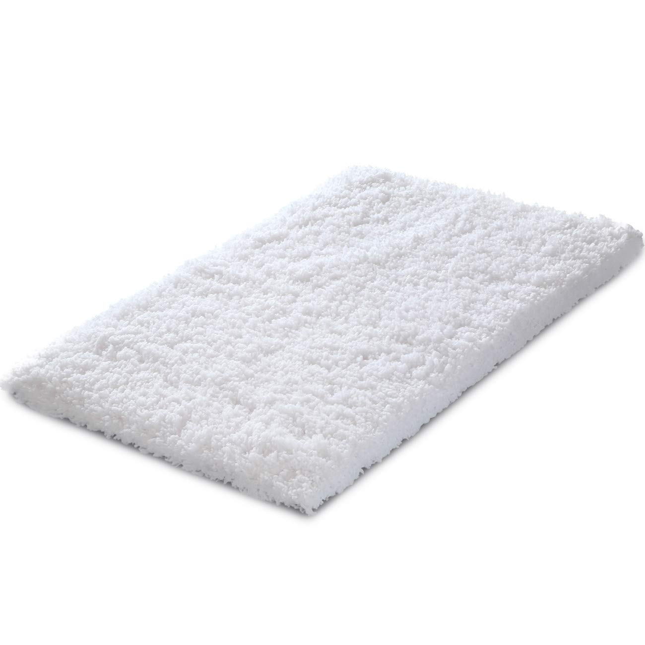 KMAT Bath Mat 31 x 19 White Soft Plush Non Slip Absorbent Microfiber Bathroom and Shower Rugs Luxury Machine Washable Doormat Floor Mat for Bathroom Bathtub Bedroom Living Room Home Hotel