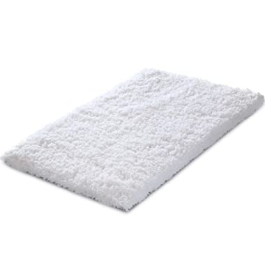 KMAT  20x32 Inch White Bath Mat Soft Shaggy Bathroom Rugs Non-Slip Rubber Shower Rugs Luxury Microfiber Washable Bath Rug Floor Bathroom Bedroom Living Room