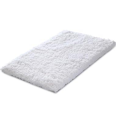 KMAT  20x32 Inch White Bath Mat Soft Shaggy Bathroom Rugs Non-Slip Rubber Shower Rugs Luxury Microfiber Washable Bath Rug for Floor Bathroom Bedroom Living Room