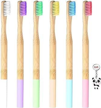 6 cepillos de dientes de bambú natural, nudos ecológicos y ...