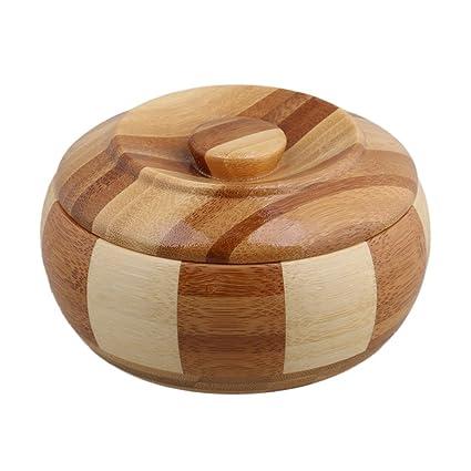 BQLZR redonda madera color bambú estriado cigarrillo cenicero con tapa fumar puro cenizas bandeja soporte