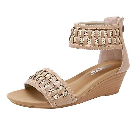 ecf8958db2b54a Caopixx Women High Heels Wedge Sandals Slipper Platform Shoes Buckle  Peep-Toe Wedges Shoes Beige