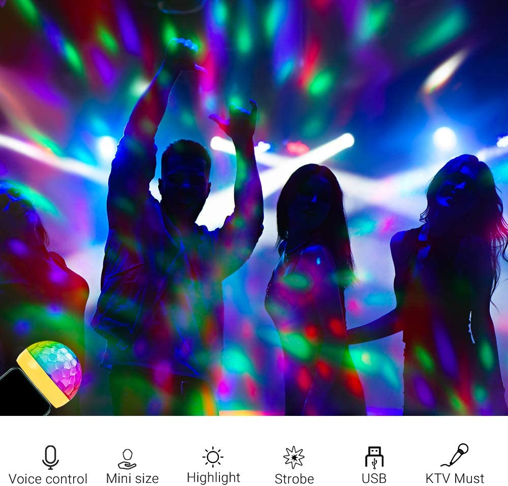 Party Lights Magic Disco Ball Light Sound Activated Colorful Strobe LED Lights with 3 Plugs for KTV Club DJ Stage Atmosphere Christmas Family Party Interior Car Lights White USB Mini Disco Lights