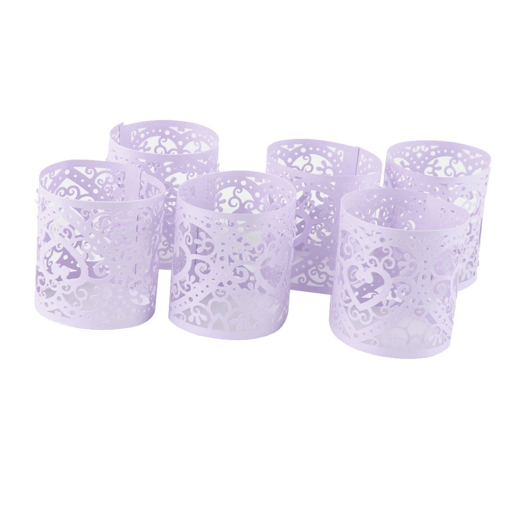 Sharplace 6pcs Abat-Jour Porte Bougie LED Tasse Papier Motif Coeur Ciselé Déco de Table Mariage - Rose