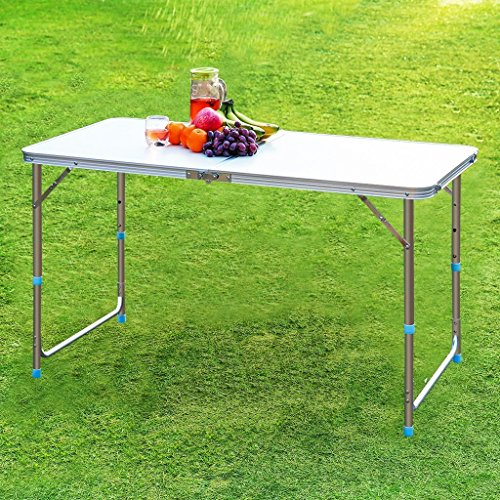 Finether height adjustable aluminum camping portable folding import it all - Camping table adjustable height ...