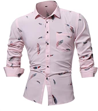 Camisas hombre Manga larga de los hombres casual camiseta fresca en el estilo de otoño,YanHoo® Mens Casual color manga larga camisa negocio Slim Fit camisa impresa blusa (Rosa, 3XL): Amazon.es: Iluminación