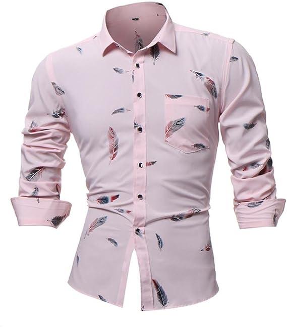 Camisas hombre Manga larga de los hombres casual camiseta fresca en el estilo de otoño,YanHoo® Mens Casual color manga larga camisa negocio Slim Fit camisa impresa blusa (Rosa, 3XL): Amazon.es: Iluminación