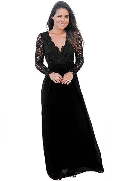 036953e4eefbf7 emmarcon Sexy Elegante Abito Cerimonia da Donna Schiena Nuda Vestito Lungo  da Party Festa-Black