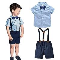 I3CKIZCE Traje de verano de 2 piezas para bebé, niño, camiseta de manga corta con corbata + pantalones cortos con…