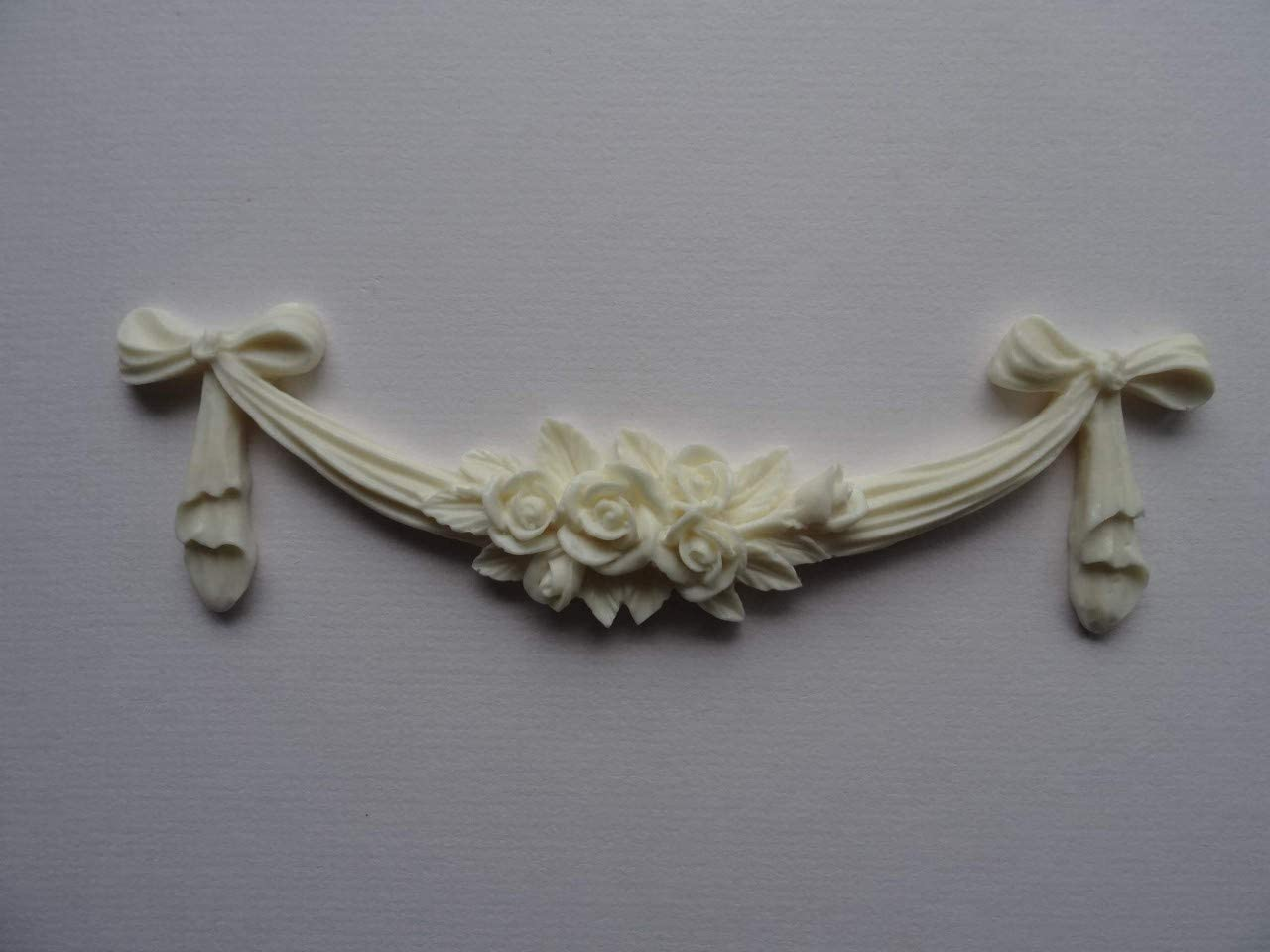 RSB1 Decorative Rose Swag Bow Applique onlay Furniture Moulding