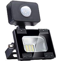 Sararoom 10W Foco LED Exterior,Con Sensor Movimiento Proyector LED Exterior,IP65 Impermeable Floodlight,Para Jardín,Garaje,Estadio,Fábrica,Almacén,1000LM,3200K Blanco Cálido