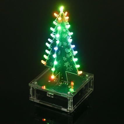 Christmas Tree Led.Kkmoon Diy Christmas Tree Colorful Led Light Acrylic With Music Electronic Learning Kit Module Xmas Decoration