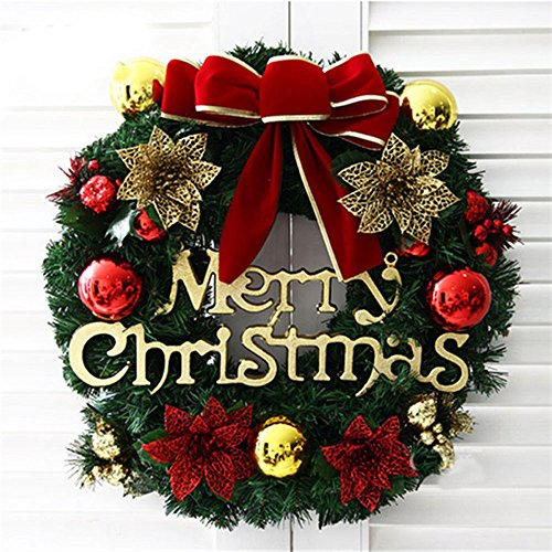 (Christmas Best Gift!!!Kacowpper Christmas Wreath Door Wall Ornament Garland Decoration New Year Decor)
