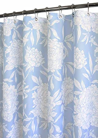 Park B. Smith Peony Watershed Shower Curtain, Sky Blue/White