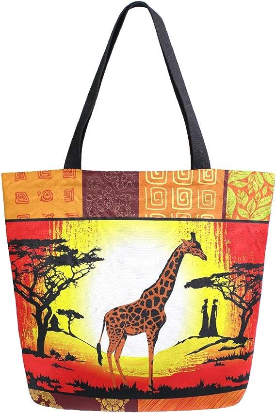 Mnsruu Sac fourre-Tout réutilisable pour Femme Motif Girafe Africaine