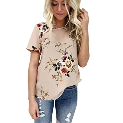 acbf3b639b9 Image Unavailable. Image not available for. Color  Joint 2018 Women s Summer  Casual Floral Printing T-Shirt Short Sleeve Chiffon ...