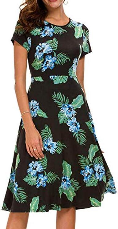 Vestidos Mujer Algodón Vestido Cortos Mujer Verano De Playa Vestido Corto Sin Mangas con Estampado Floral Verano Falda Largo Sexy Elegante Y Comodo Dress (Azul, S EU:34 Bust:86cm/33.9