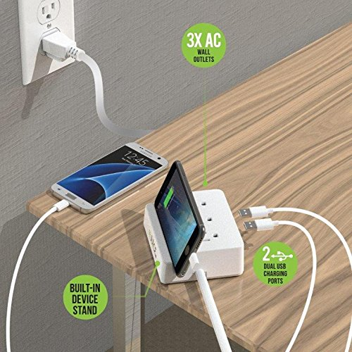 Rejuice Power Hub 3 AC Outlet Phone Holder Multi Charging 2 USB Ports Extreme Power Desk or Wall Versions Retail Packaged