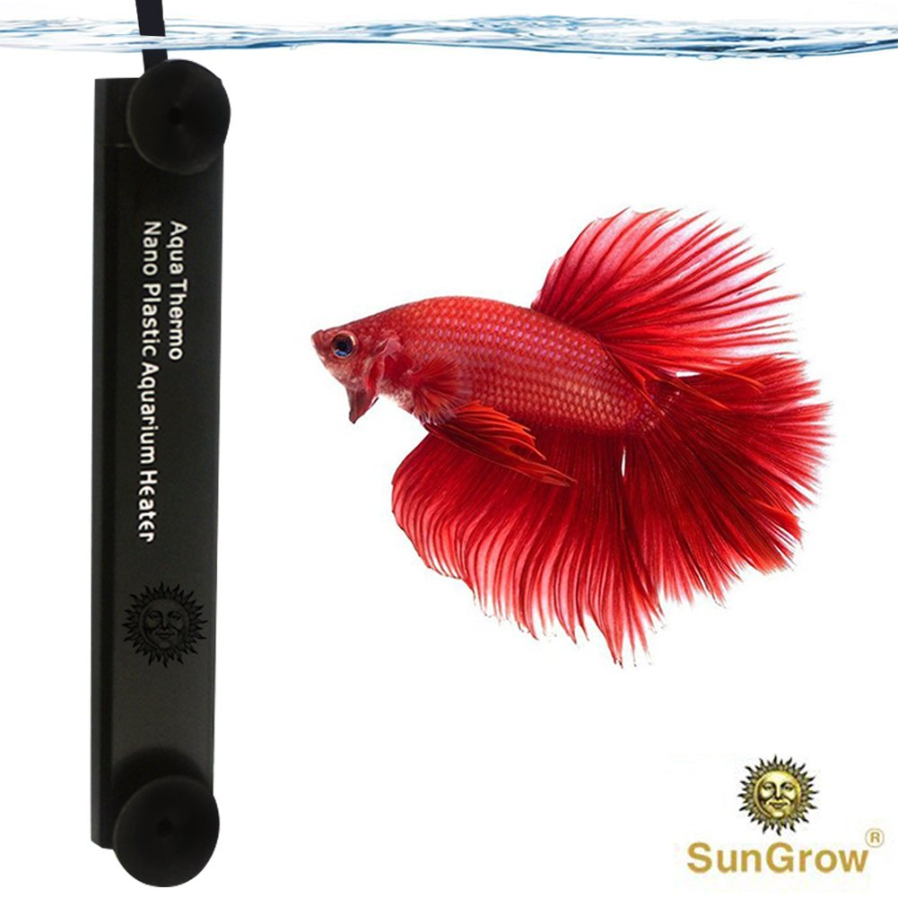 Betta Heater - 10 W - for Small Tanks (1.5 gal.) - Fully Submersible Aquarium Heater - Automatically Reaches Preset Temperature - Energy-efficient Heating Module - Suction Cups for Easy Installation Luffy Pets Collection