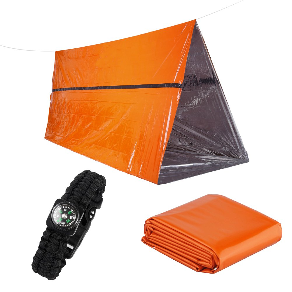 Refugio de supervivencia de emergencia Fuerte PE Tubo reflectante té rmico con 1 pieza de manta de emergencia y 1 pieza de pulsera de supervivencia cobra YIYE LTD