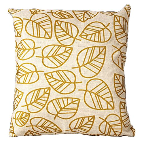 Vanki leaf series Cotton Linen Square Decorative Throw Pillow Case Cushion Cover 18 x 18 inches ,white based yellow leaves pattern