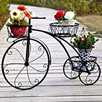 Bicycle Iron Flower Stand, 3-Layer Flower Shelf Balcony Plant Indoor Outdoor Plant Plant Potted Rack with Wheels Scroll Folding Shelves Garden Home Decor