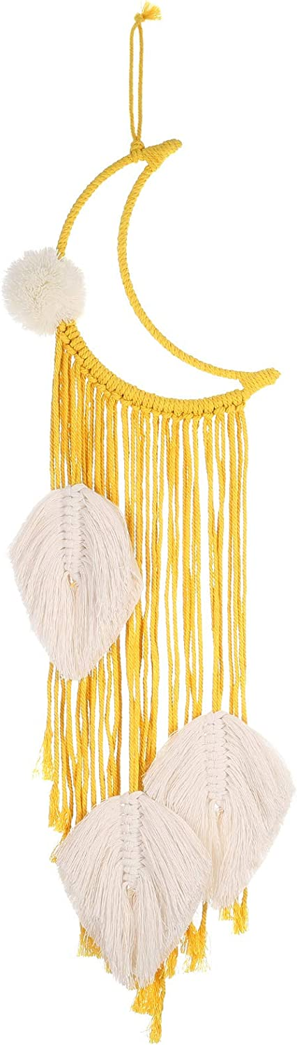 FANKUTOYS Moon Dream Catcher (Yellow), Macrame Wall Hanging - Bohemian Handmade Woven Tapestry Home Decor Accessories Decoration for Kids Room Home Wedding Ornament Craft Gift