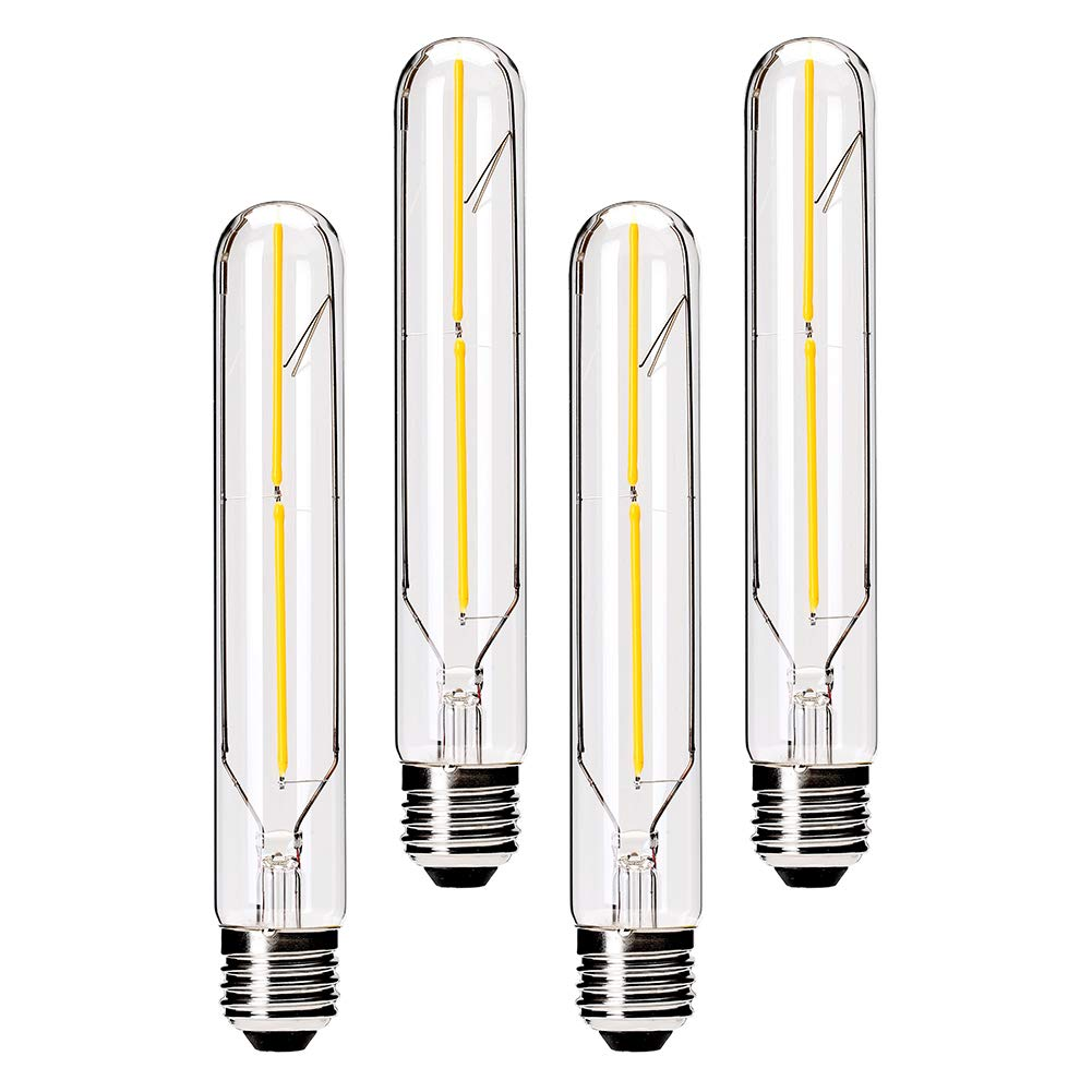 Dimmable T10 LED Bulbs 3000K Warm White LED Tubular Edison Light Bulbs 4W Tube Vintage Led Bulbs 40 Watt Equivalent,E26 Medium Base 400LM,Clear Glass Cover, 7.3in(185mm), 4-Pack