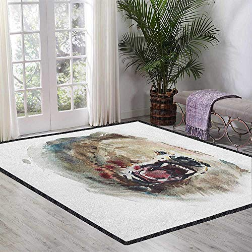 Bear Ultra Soft Indoor Area Rugs,Watercolor Drawing Style